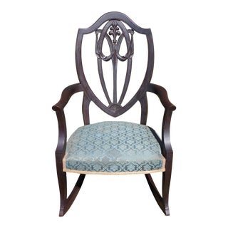 Antique Carved Solid Mahogany Fleur De Lis Shield Back Rocking Chair Rocker For Sale