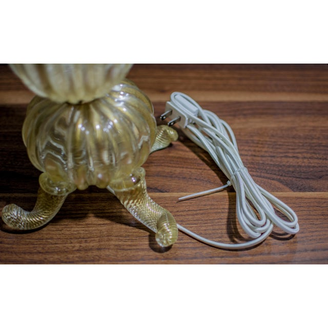 Vintage Gold Murano Glass Table Lamp - Image 4 of 7