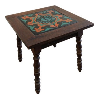 Monterey Mission Tile Top Table With Taylor Tiles For Sale