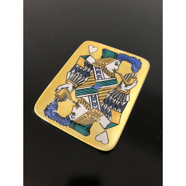 Great small Fornasetti dresser tray. Cool playing card motif. Vintage 1950's.