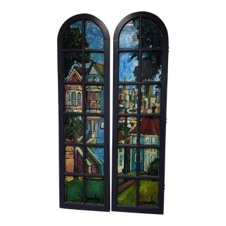 Hand Painted Window Frames by Chris Duke - a Pair
