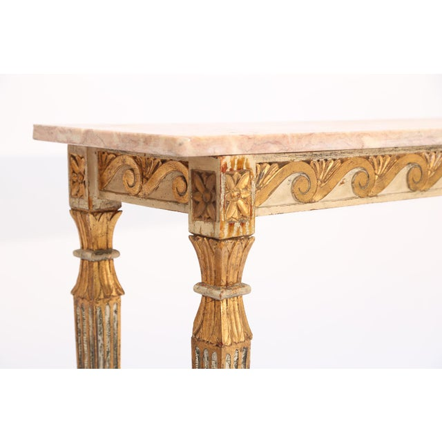 Long and Narrow Italian Parcel-Gilt Marble-Top Console With Scrolling Wave Apron For Sale - Image 4 of 8