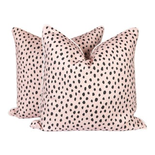Blush Tanzania Linen Spotted Pillows - A Pair