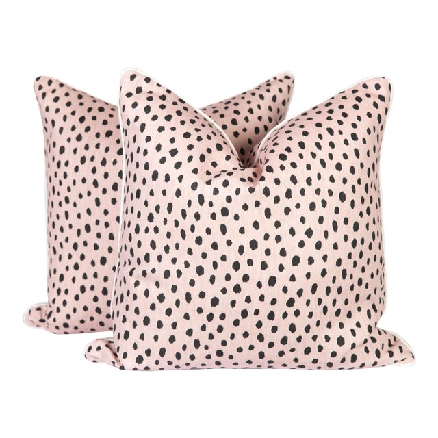 Blush Tanzania Linen Spotted Pillows - A Pair For Sale