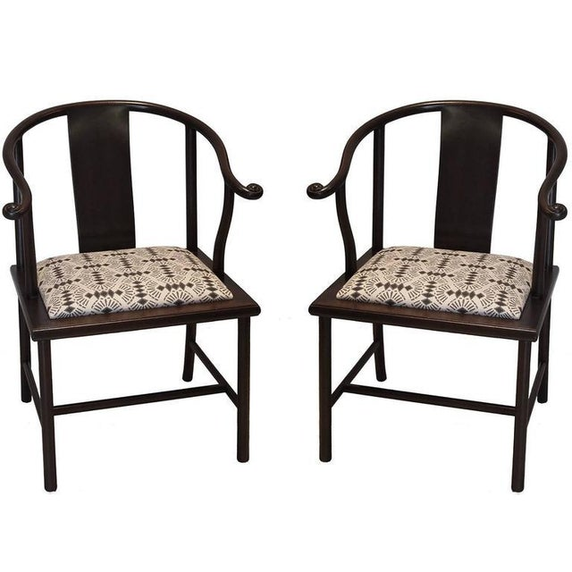Late 20th Century 20th Century Asian Modern Smith & Watson Horseshoe Chairs - a Pair For Sale - Image 5 of 5