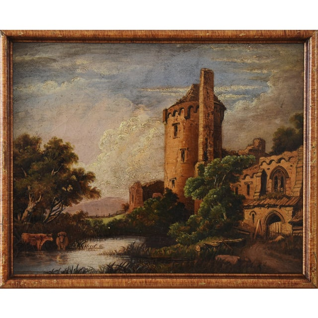 Abstract Circa 1830s Antique English Castle & Cattle at River Painting For Sale - Image 3 of 11