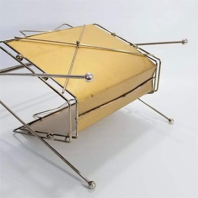Rare Atomic Mid Century Modern Magazine Holder Rack - Sputnik Era 1950s Abstract Minimalist Art Deco For Sale In Miami - Image 6 of 13