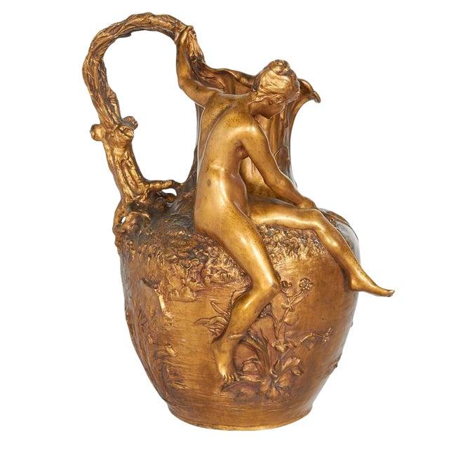 Alexandre Vibert, French Art Nouveau Figural Gilt Bronze Ewer, Circa 1900 For Sale