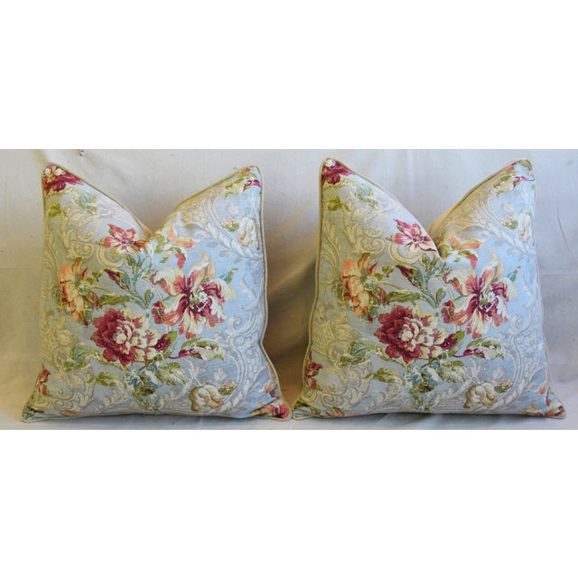 "French Floral Linen & Velvet Feather/Down Pillows 24"" Square - Pair For Sale In Los Angeles - Image 6 of 13"