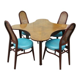 1950s Vintage Edward Wormley for Dunbar Clover Table & Chairs - 5 Pieces For Sale
