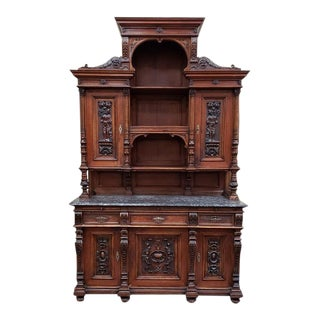 19th Century French Walnut Hutch W/ Marble C.1880 For Sale