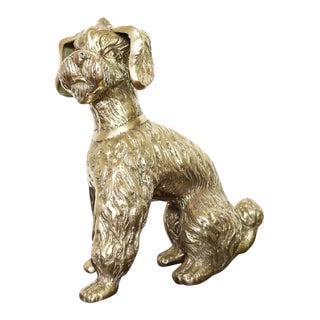 Vintage Brass Poodle Dog Sculpture For Sale