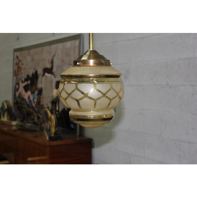 Circa 1940s French Art Deco One Light Globe Chandelier Lantern - Image 7 of 11