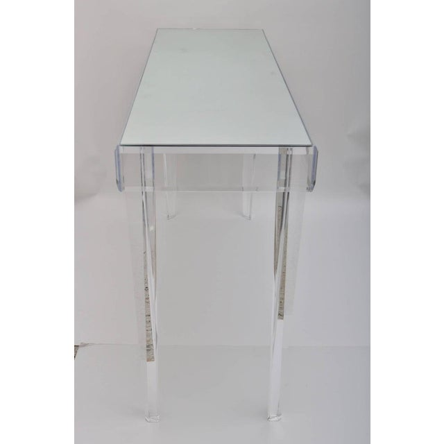 """Vintage Lucite and Mirror Console 60"""" - Floor Sample For Sale In West Palm - Image 6 of 13"""