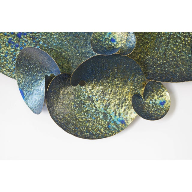 Blue and gold iron lotus wall sculpture designed by Fabio Bergomi for Fabio Ltd Width: 55 inches / Height: 32 inches /...