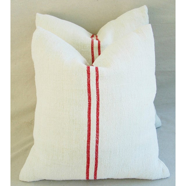 French Red Striped Grain Sack Down/Feather Pillows - Pair - Image 7 of 10