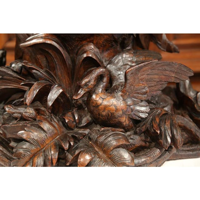 Mid 19th Century 19th Century Swiss Carved Walnut Black Forest Mantel Clock For Sale - Image 5 of 10