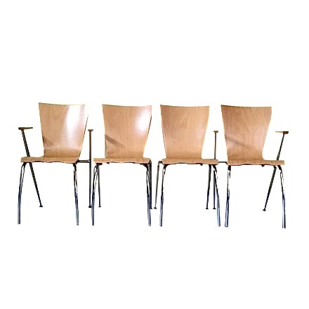 Arne Jacobsen Style Bent Wood Chairs - Set of 4 For Sale