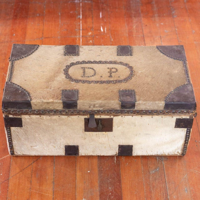 Antique Cowhide Trunk with Initials DP For Sale - Image 9 of 9