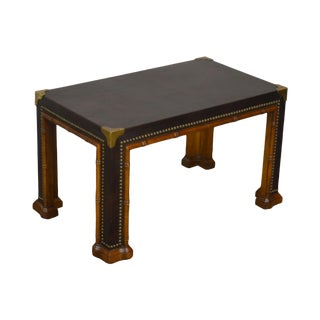 Drexel Et Cetera Vintage Faux Bamboo Leather Wrapped Parsons Coffee or Side Table For Sale