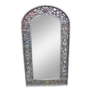 1910-1930 Antique Oscar Bach Mirror With Gothic Faces in Original Cast Iron Metalware For Sale