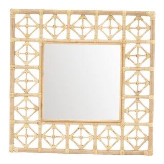 Square Diamond Pattern Mirror, Beige, Rattan For Sale