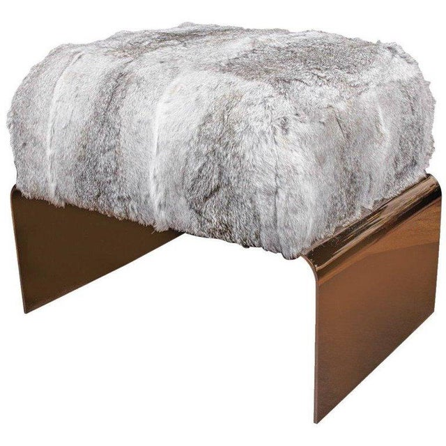 Luxury Accent Stool or Ottoman in Lapin Fur and Black Chrome For Sale - Image 10 of 10