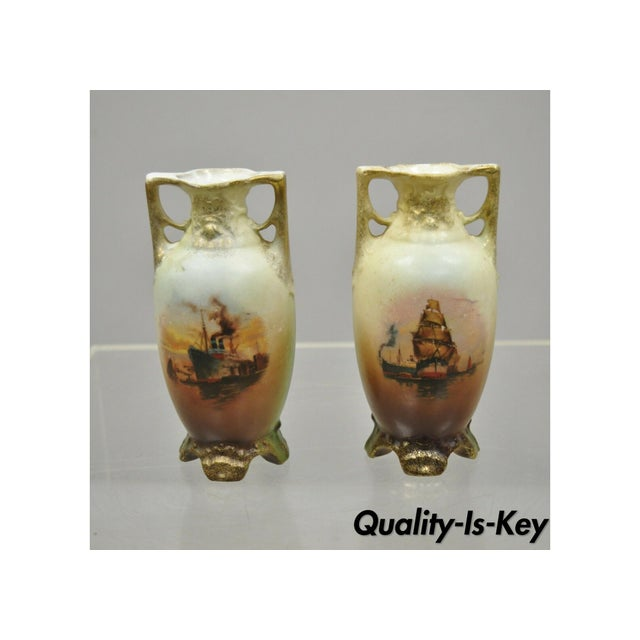 Antique Nippon Style Japan Clipper Ship Bud Vases - a Pair For Sale - Image 13 of 13