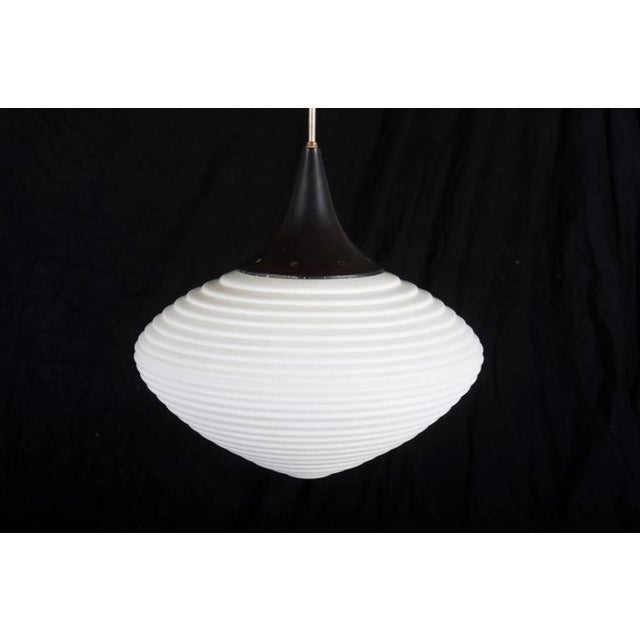 Kamenicky Senov Novy Bor Large Opal Glass Hanging Lamp For Sale - Image 4 of 7