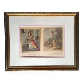 "James Gillray ""A Thaw in London"" and ""Raw Weather"" Framed Caricature Print For Sale"