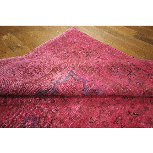 Pink Floral Overdyed Oriental Area Rug - 9' x 12' - Image 9 of 10