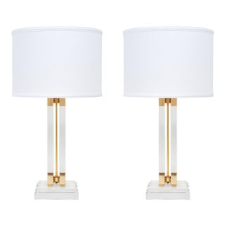 Lucite and Brass Mid-Century Table Lamps