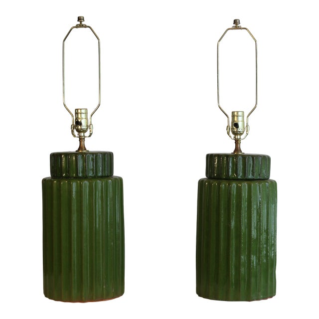 Transitional Style Ceramic Table Lamps - a Pair For Sale