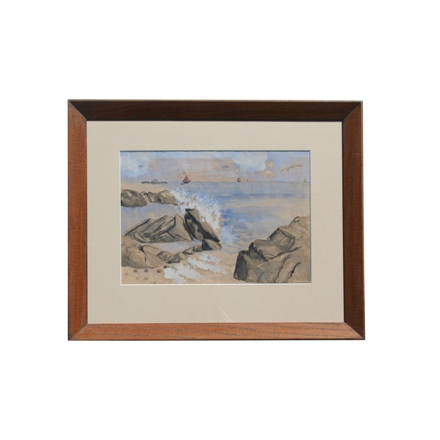 Vintage Watercolor of Coastal Seascape For Sale