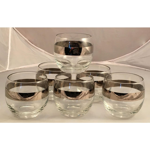 Set of 6 Mid-Century Space Satellite Silver Rim Cocktail Glasses For Sale - Image 9 of 9