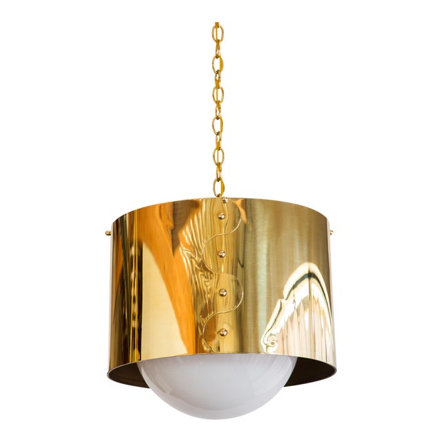 Mid-Century Pair of Brass Drum Shaded Pendants For Sale