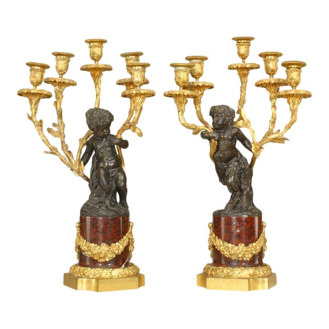 Pair of French Louis XV Style '19th Century' Cupid Five-Arm Candelabra For Sale