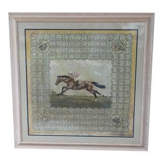 English Racing Silk Framed Textile Art For Sale