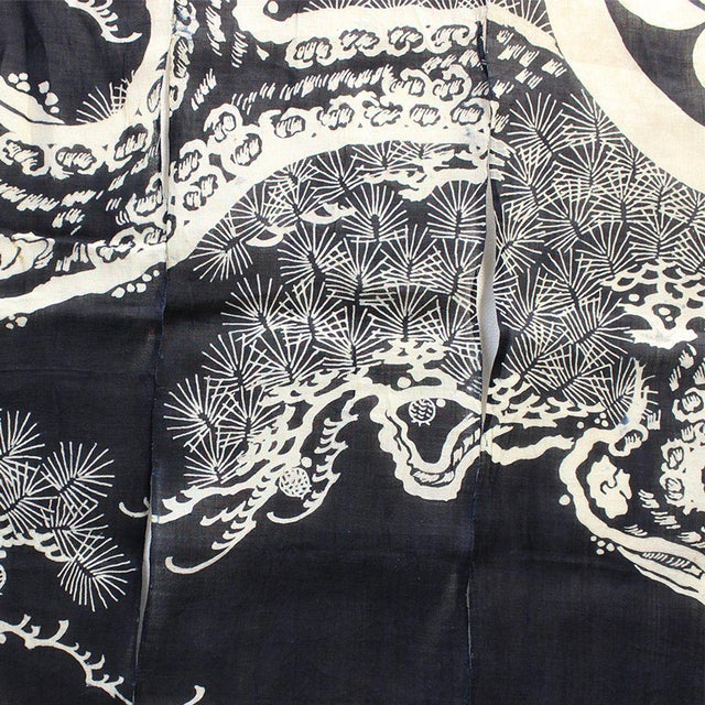 Tsutsugaki 筒描 (resist dyed fabric) motif of Pine. Noren like this were used for special occasions, not for everyday in...