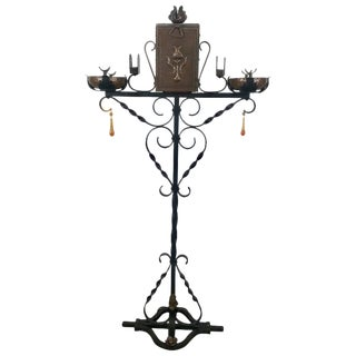 Iron and Copper Arts & Crafts Double Smoking Stand With Cigar Holder For Sale
