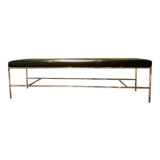 Vintage Chrome and Black Leather Grissini Bench For Sale