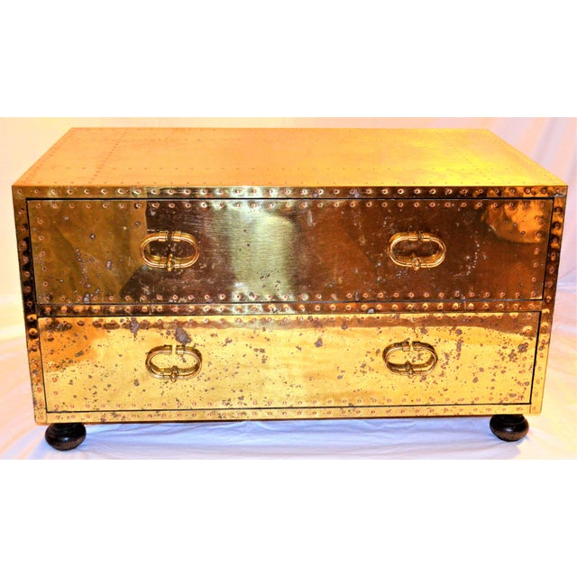 (Final Markdown) 1970s Hollywood Regency Sarreid Brass Clad Two Drawer Chest For Sale - Image 12 of 12