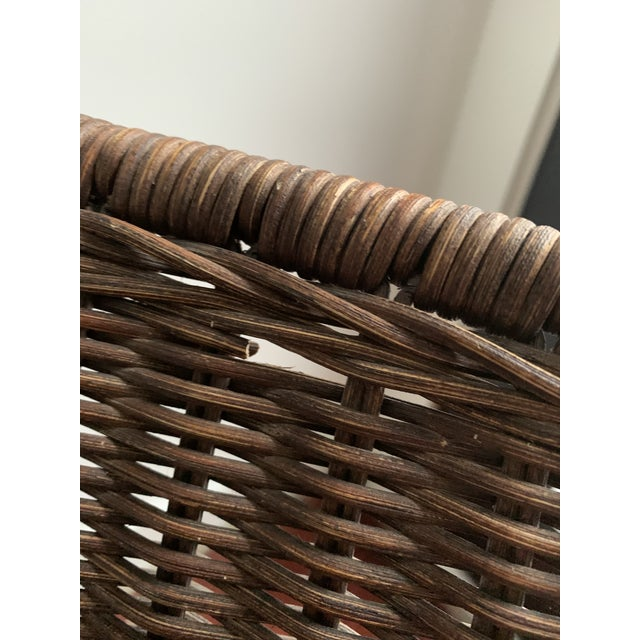 Wicker Wicker and Iron Lounge Chair For Sale - Image 7 of 9