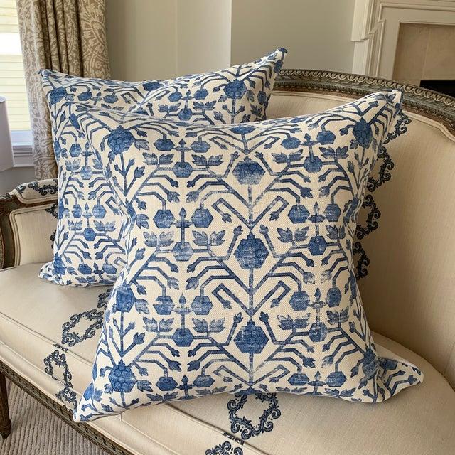 "A custom made designer pillow featuring Zak & Fox kohtan in cobalt Fabric. Expertly made for MC Interiors. 22"" size. Knife..."