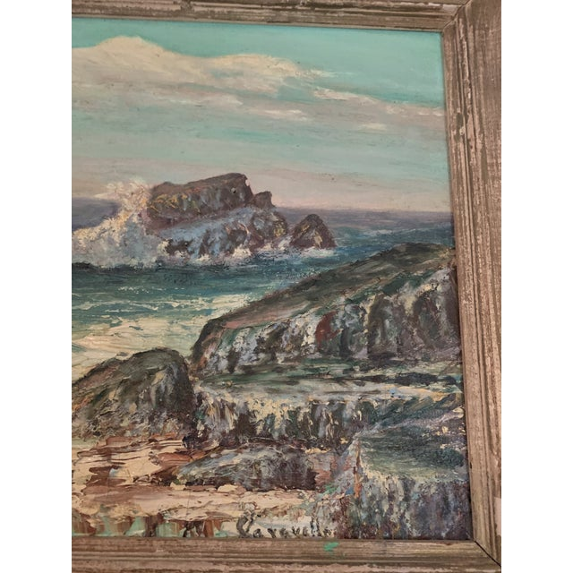1960s Rocky Beach Seascape Oil Painting, Framed For Sale - Image 9 of 12