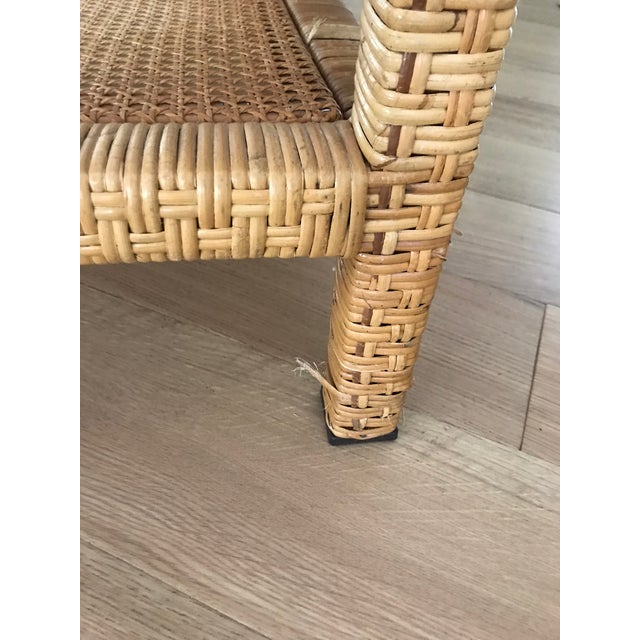 1960s Rattan Wrapped Glass Top Coffee Table For Sale - Image 5 of 6
