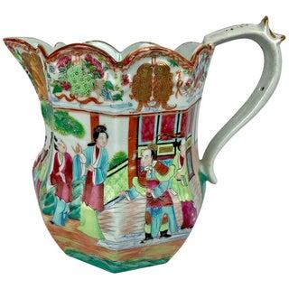 Large Mandarin Famille Rose Chinese Export Porcelain Pitcher For Sale