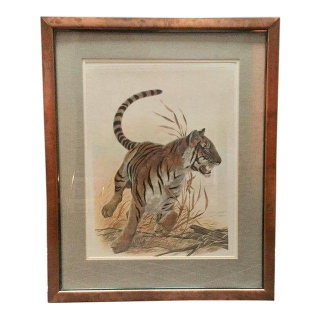 "Copper Framed John Ruthven ""Bengal Tiger"" Lithograph From 1970s Safari Series For Sale"