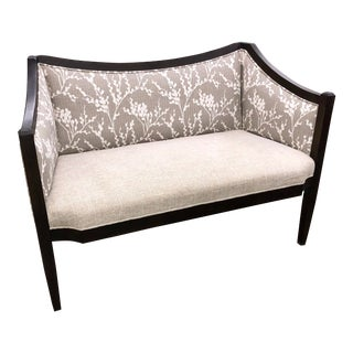 Transitional Gray and White Settee For Sale