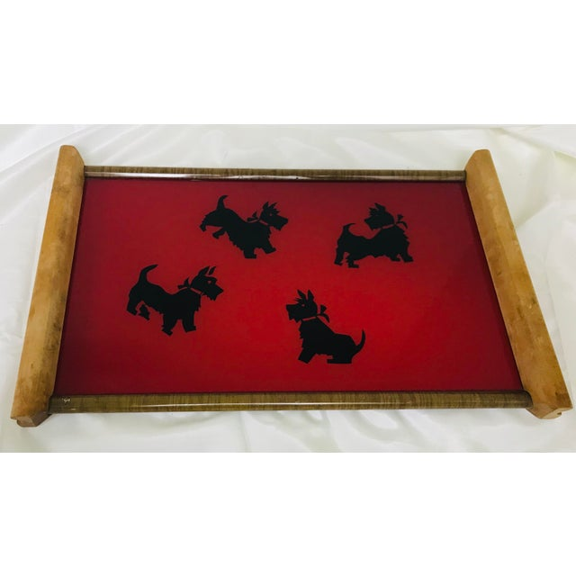 Black Vintage Mid-Century Modern Black & Red Scottish Terrier Glass & Wood Tray For Sale - Image 8 of 8